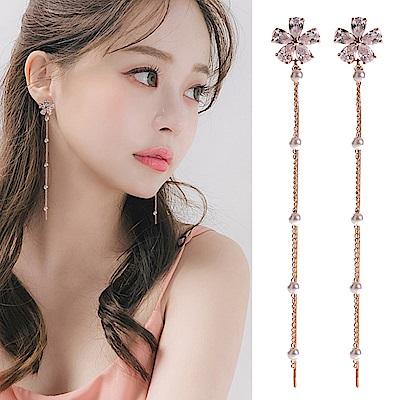 梨花HaNA 無耳洞韓國玫瑰金櫻花雨珍珠耳環夾式