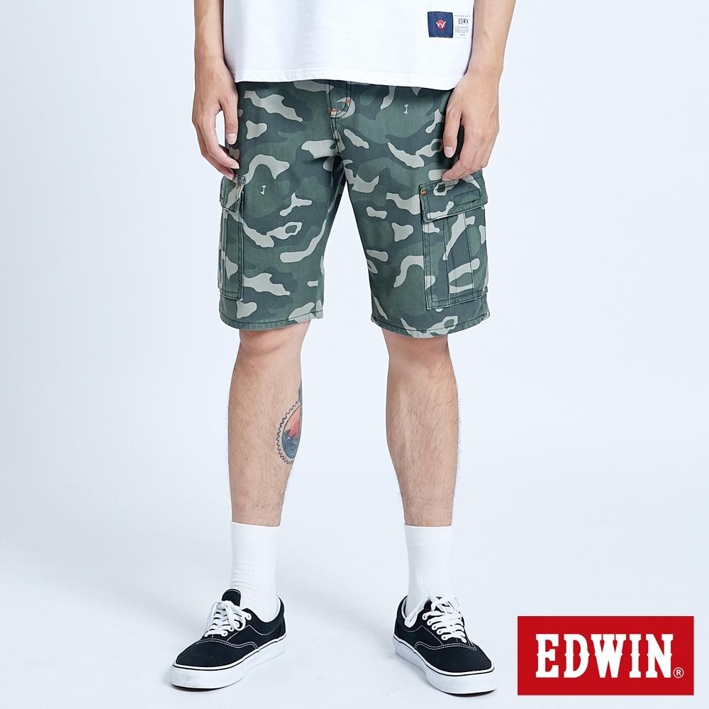 EDWIN JERSEYS 迦績 EJ3 涼感迷彩工作短褲-男-墨綠色