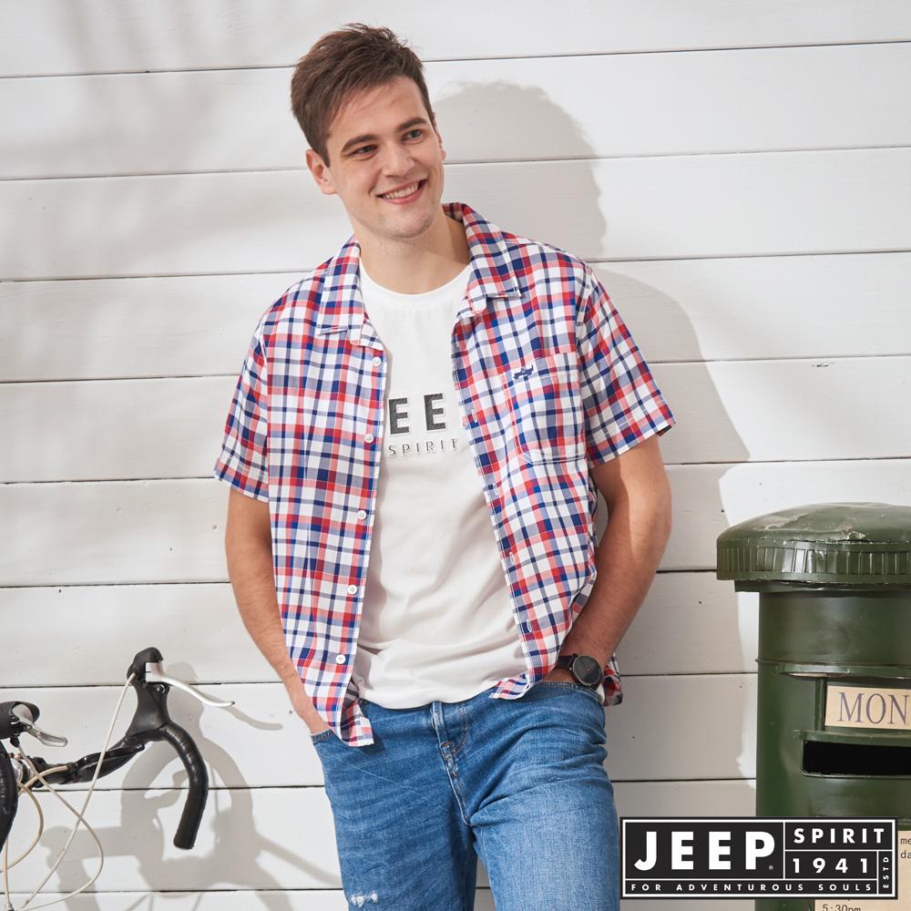 JEEP 品牌經典格紋短袖襯衫-紅藍