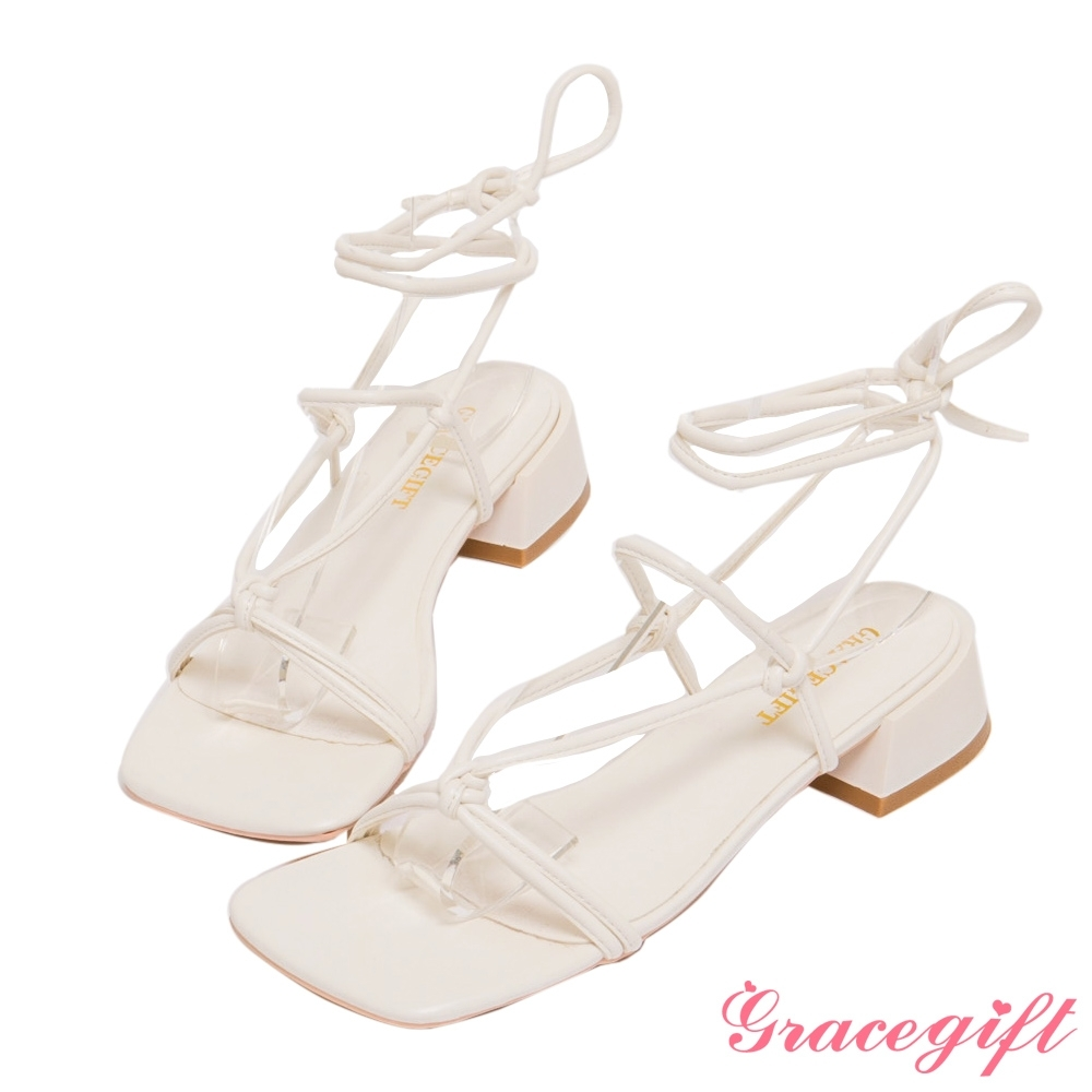 Grace gift-層次綁帶羅馬低跟涼鞋 米白