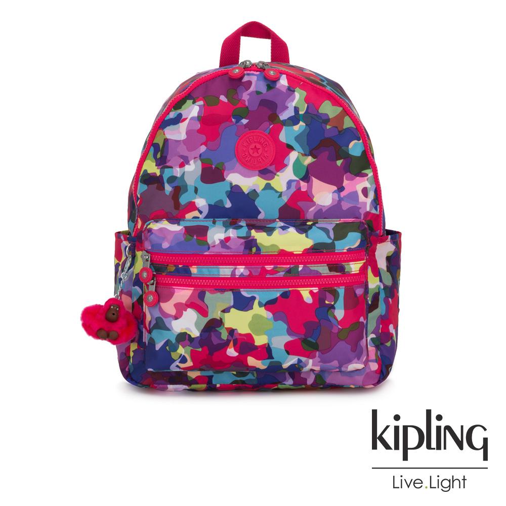 Kipling 繽紛迷彩拉鍊後背包-BOUREE