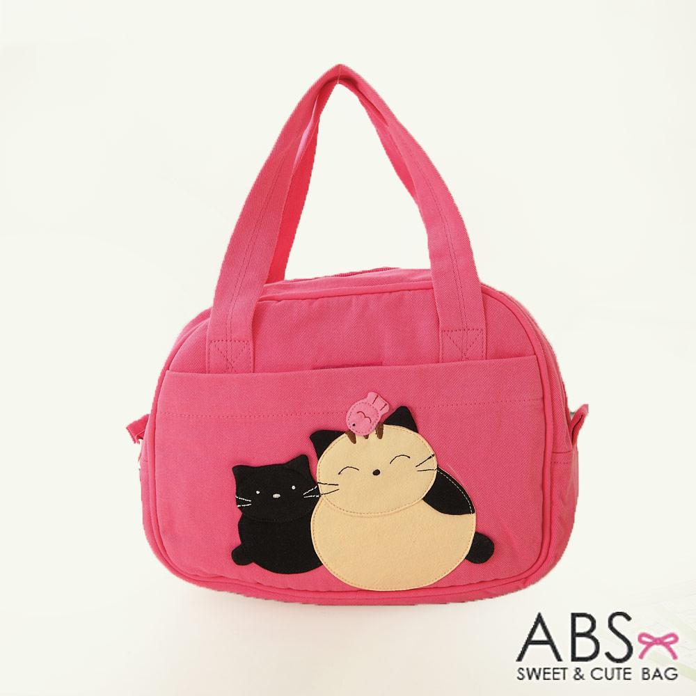 ABS貝斯貓 可愛貓咪手工拼布手提包 提袋(甜心粉)88-023
