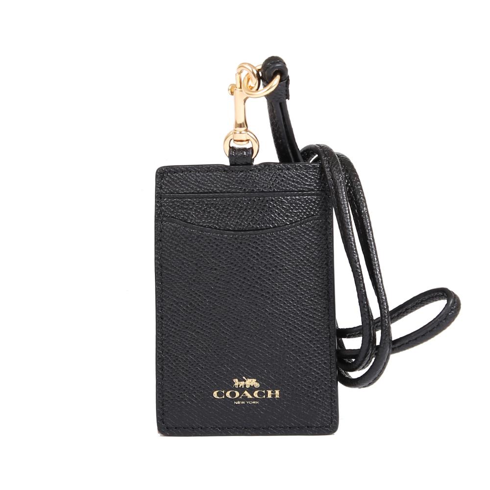 COACH 燙金LOGO防刮皮革證件夾套(黑色)COACH