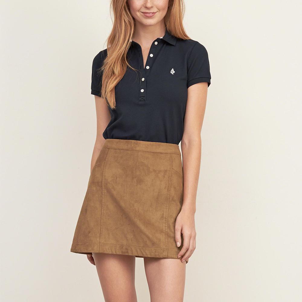 麋鹿 AF 經典文字設計短袖Polo衫(女)-深藍色