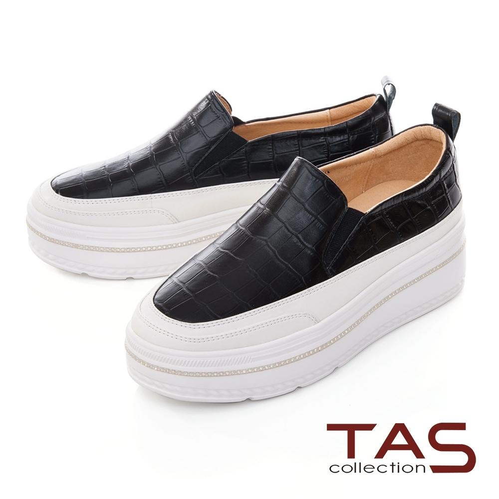 TAS壓紋牛皮拼接鬆緊帶厚底懶人鞋-百搭黑