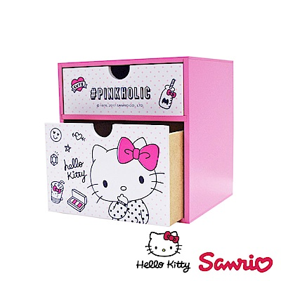 Hello Kitty 凱蒂貓桌上直式 雙層抽屜盒 置物盒 美妝收納 桌上收納