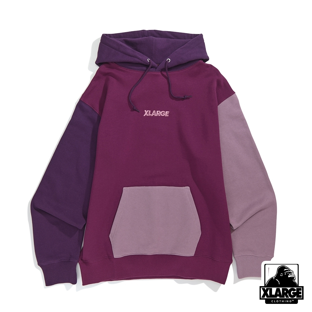 XLARGE COLOR BLOCK PULLOVER HOODED SWEAT-連帽上衣-紫