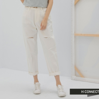 H:CONNECT 韓國品牌 女裝 -個性割破造型Straight牛仔褲-白色