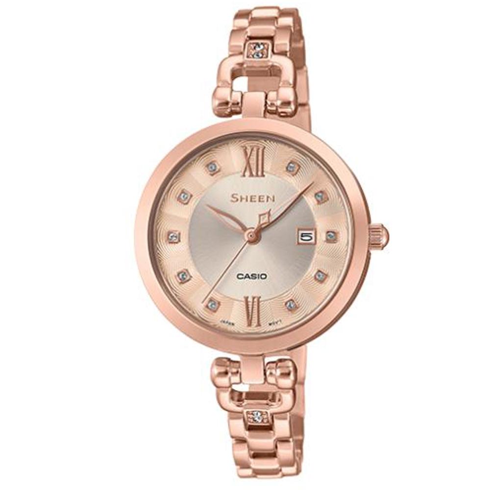 SHEEN 細緻婉約水晶點綴香檳金設計不鏽鋼腕錶(SHE-4055PG-4A)/37mm