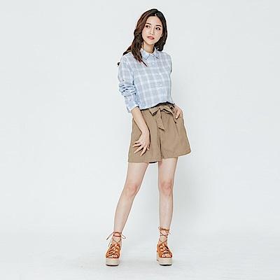 Hang Ten - 女裝 -腰間綁帶純色寬鬆短褲-咖啡色