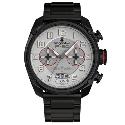 elegantsis P-3C反潛機成軍週年紀念款 不鏽鋼手錶 灰x鍍黑 47mm