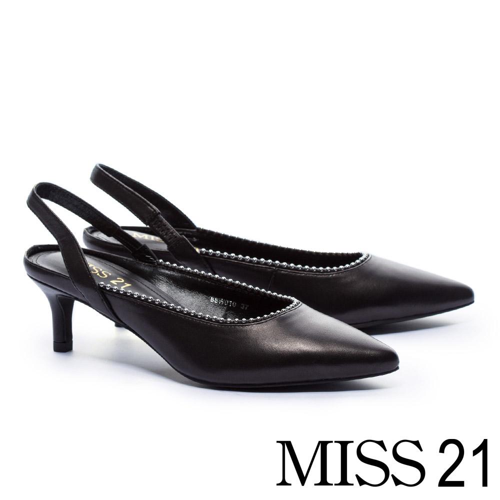 高跟鞋 MISS 21 都會時尚尖頭珠鍊鑲邊鬆緊繫帶高跟鞋-黑