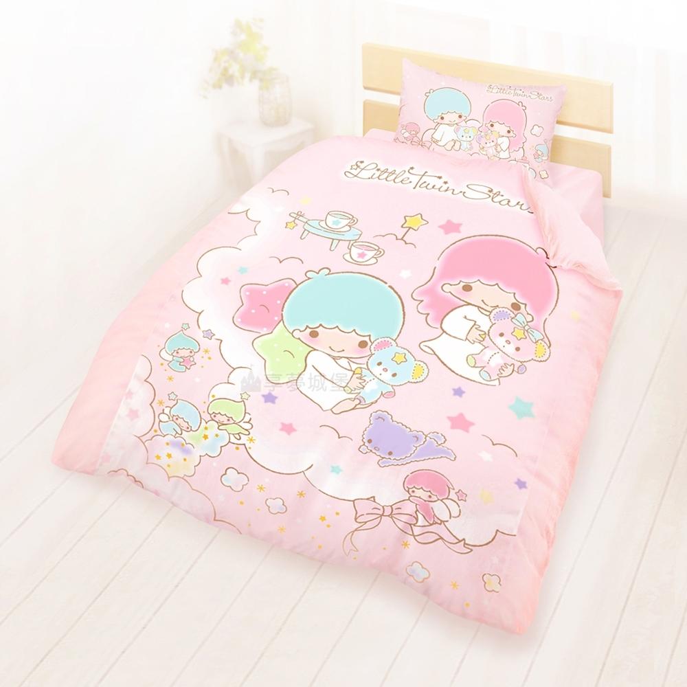 享夢城堡 精梳棉單人床包雙人薄被套三件組-雙星仙子Little Twin Stars 小熊扮家家-粉