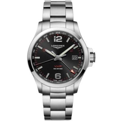 LONGINES 浪琴 征服者系列V.H.P. GMT 萬年曆手錶-黑x銀/43mm