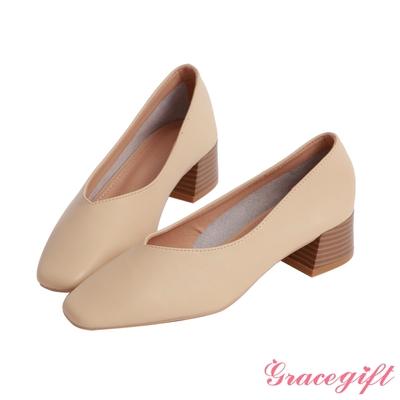 Grace gift-真皮素面方頭中跟鞋 米白