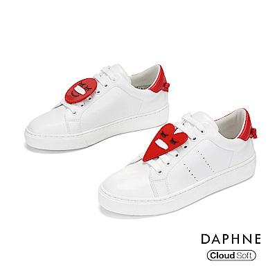 達芙妮DAPHNE 休閒鞋-幾何撞色綁帶休閒鞋-紅