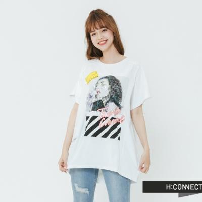 H:CONNECT 韓國品牌 女裝-街頭圖印休閒T-shirt-白