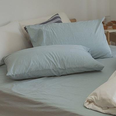 翔仔居家 新疆棉系列 單人素色床包枕套組 - 銀灰藍