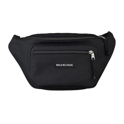 BALENCIAGA 巴黎世家EXPLORER刺繡LOGO尼龍拉鍊胸掛腰包(黑)