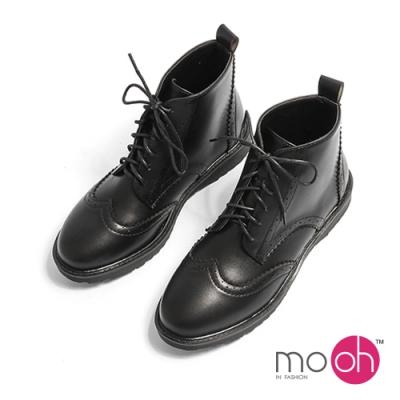 mo.oh 英倫粗跟圓頭綁帶馬丁短靴-黑色