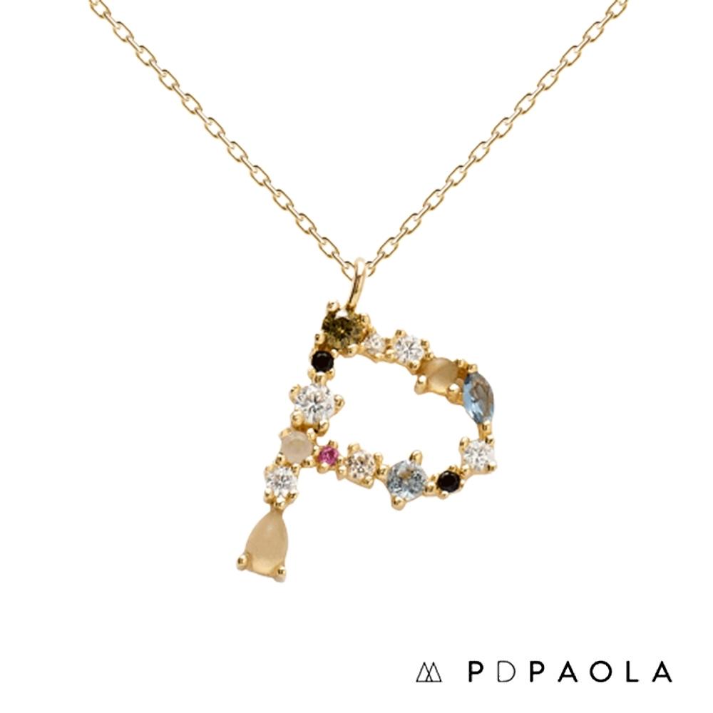 PD PAOLA 西班牙輕奢時尚品牌 字母P 彩鑽寶石項鍊