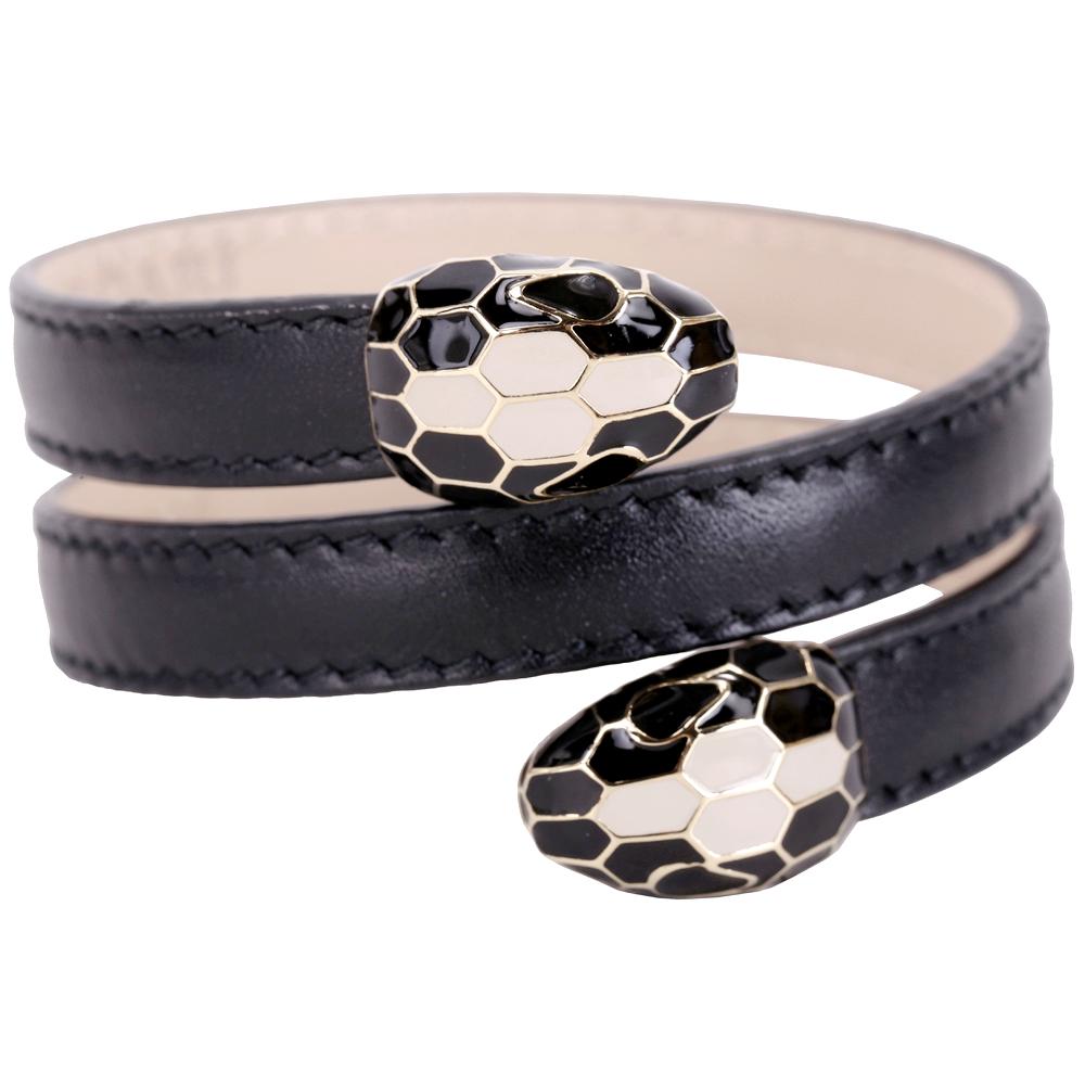 BVLGARI 寶格麗 Serpenti Forever 雙蛇頭黑色小牛皮三繞手環 @ Y!購物