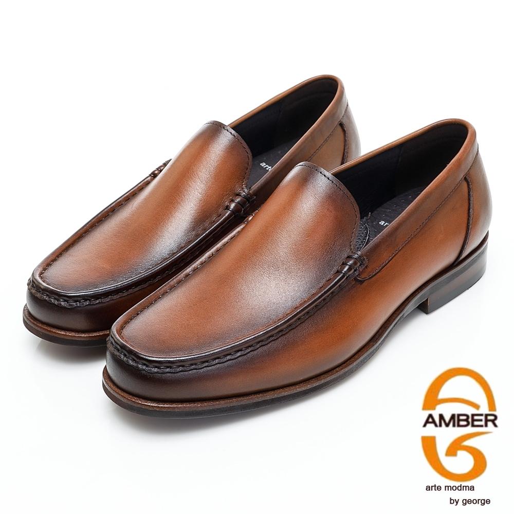 AMBER經典系列素面漸層皮革直套式紳士鞋方頭鞋-淺咖啡色