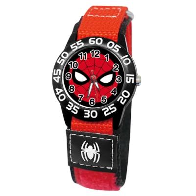 Disney迪士尼 Marvel漫威系列蜘蛛人自黏織帶錶33mm黑殼白字紅錶帶