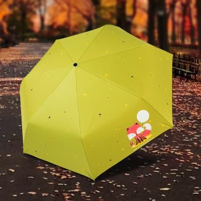 【雙龍牌】狐狸降溫13度黑膠自動開收傘抗UV晴雨傘B6290NB1-抹茶綠