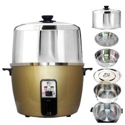 天蠶10人份香檳金電鍋YL-10A6(304不鏽鋼加高電鍋蓋+內鍋及鍋蓋+1高1低蒸盤)