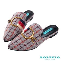 Robinlo英倫格紋金屬飾扣穆勒鞋 灰色