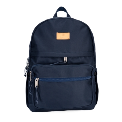 J II 後背包 皮標多隔層防潑水後背包-深藍色-6201-2