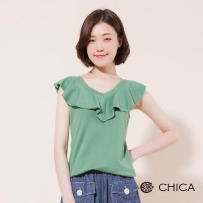 CHICA 心型荷葉領片修身棉質T恤(2色)