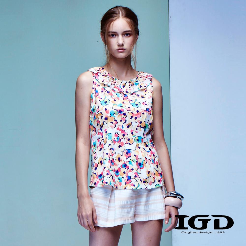 IGD英格麗 水彩感花卉印花上衣