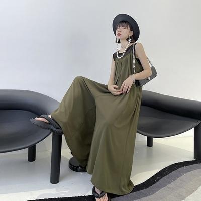 歐美潮流時尚高腰連身吊帶寬褲-F(共二色)-CLORI