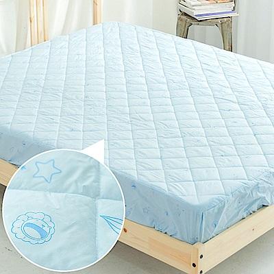 奶油獅-星空飛行-台灣製造-美國抗菌防污鋪棉保潔墊床包-雙人5尺-藍