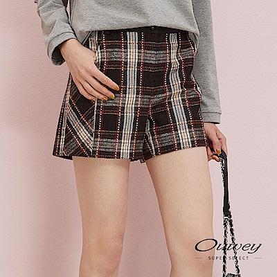 OUWEY歐薇 英倫風格紋毛呢短褲(咖)