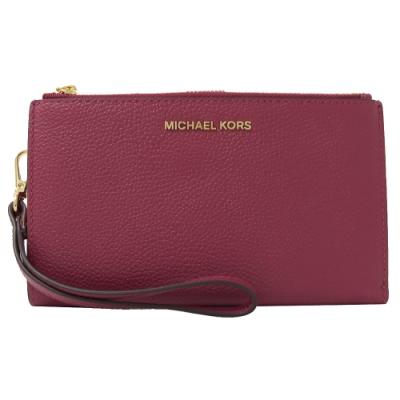 MICHAEL KORS JET SET牛皮對開雙拉鍊手掛式中夾(紫紅)