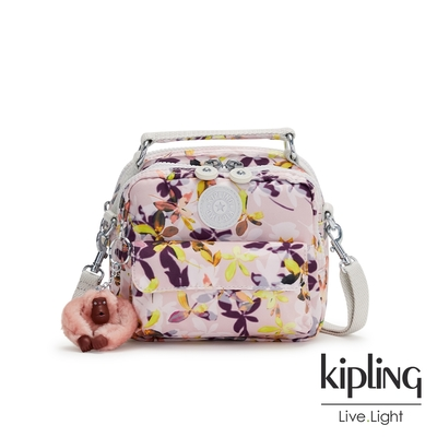 Kipling 飄零落花粉拉鍊兩用側背後背包-PUCK