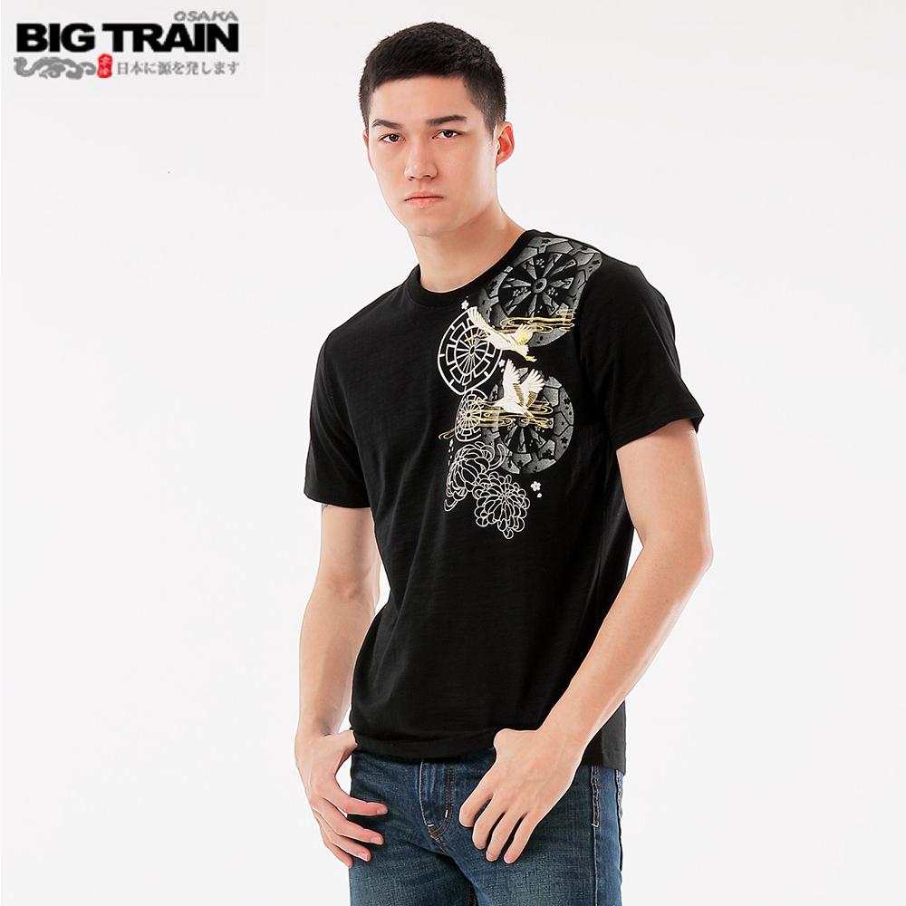 BigTrain輪柄飛鶴圓領短袖T-男-黑色