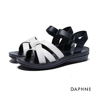 達芙妮DAPHNE 涼鞋-交叉條帶按摩顆粒撞色平底涼鞋-米白