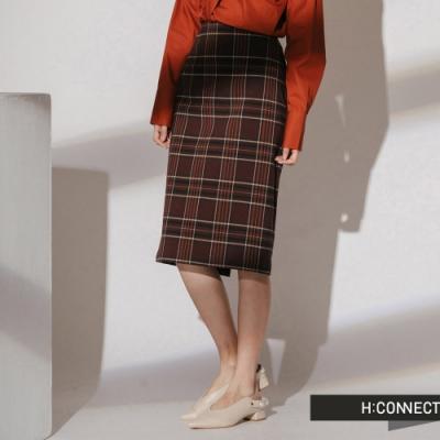 H:CONNECT 韓國品牌 女裝- 後開岔格紋中長裙-棕