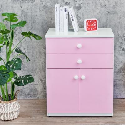Birdie南亞塑鋼-防水2.1尺二抽二門塑鋼收納櫃/窗邊置物櫃/組合櫃(白色+粉紅色)-63x36.5x84cm