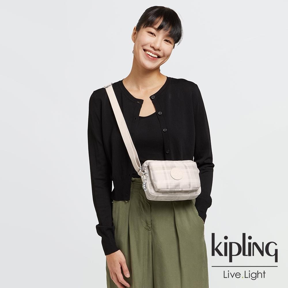 Kipling 溫柔奶油格紋前後加寬收納側背包-ABANU