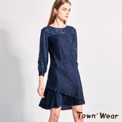 【TOWNWEAR棠葳】蕾絲植絨修身洋裝