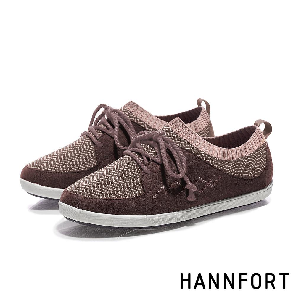 HANNFORT CALIFORNIA民族風針織麂皮休閒鞋-女-文青咖
