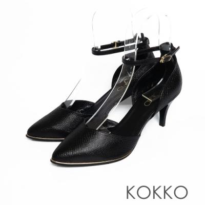 KOKKO -  優雅女神尖頭羊皮踝帶高跟鞋 - 黑