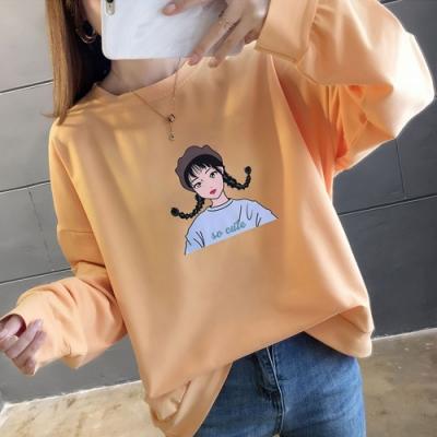 NUMI  森-卡通女孩印花寬鬆上衣-共4色-(M-2XL可選)