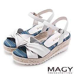 MAGY 夏日時尚舒適 交叉抓皺真皮麻編楔型拖涼鞋-白色