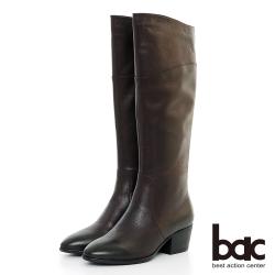 【bac】中性時尚 - 擦色感簡約粗跟長靴-酒紅